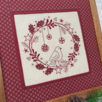 Redwork Christmas Wreath - framed